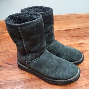 UGG Women's Classic Short Style Black Boots 8